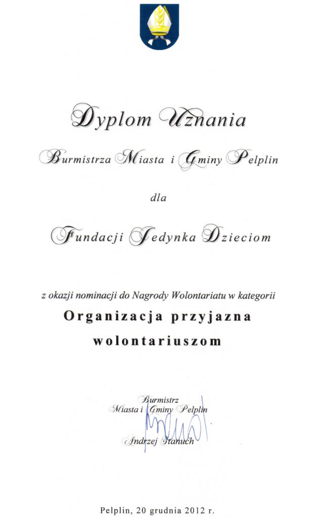 Dyplom uznania 2012